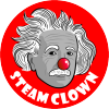 STEAM Clown's logo - Albert Einstein with a clasic clown nose